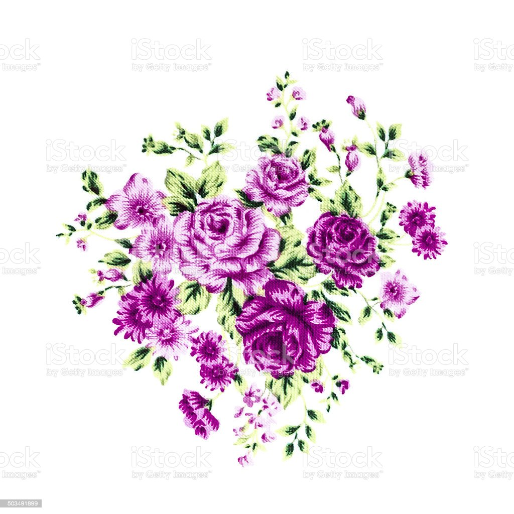 Purple Rose Fabric background, Fragment of colorful retro tapest stock photo