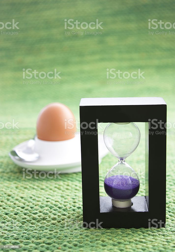 Purple sand egg timer. royalty-free stock photo
