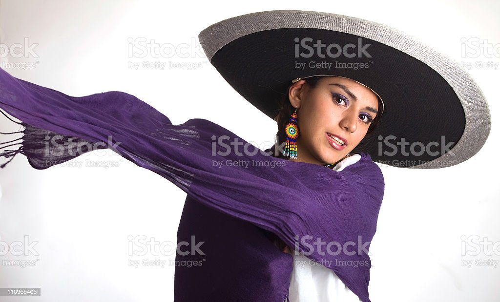 Purple scarf swirling in wind with white background stock photo