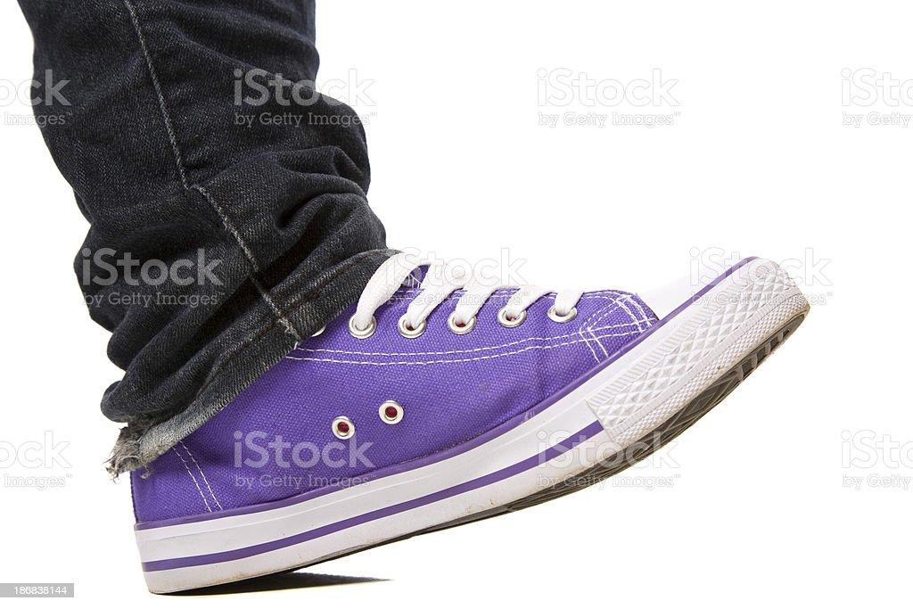 Purple Shoe Stepping stock photo