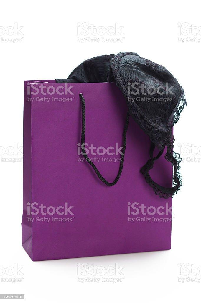 Purple Shopping bag stock photo