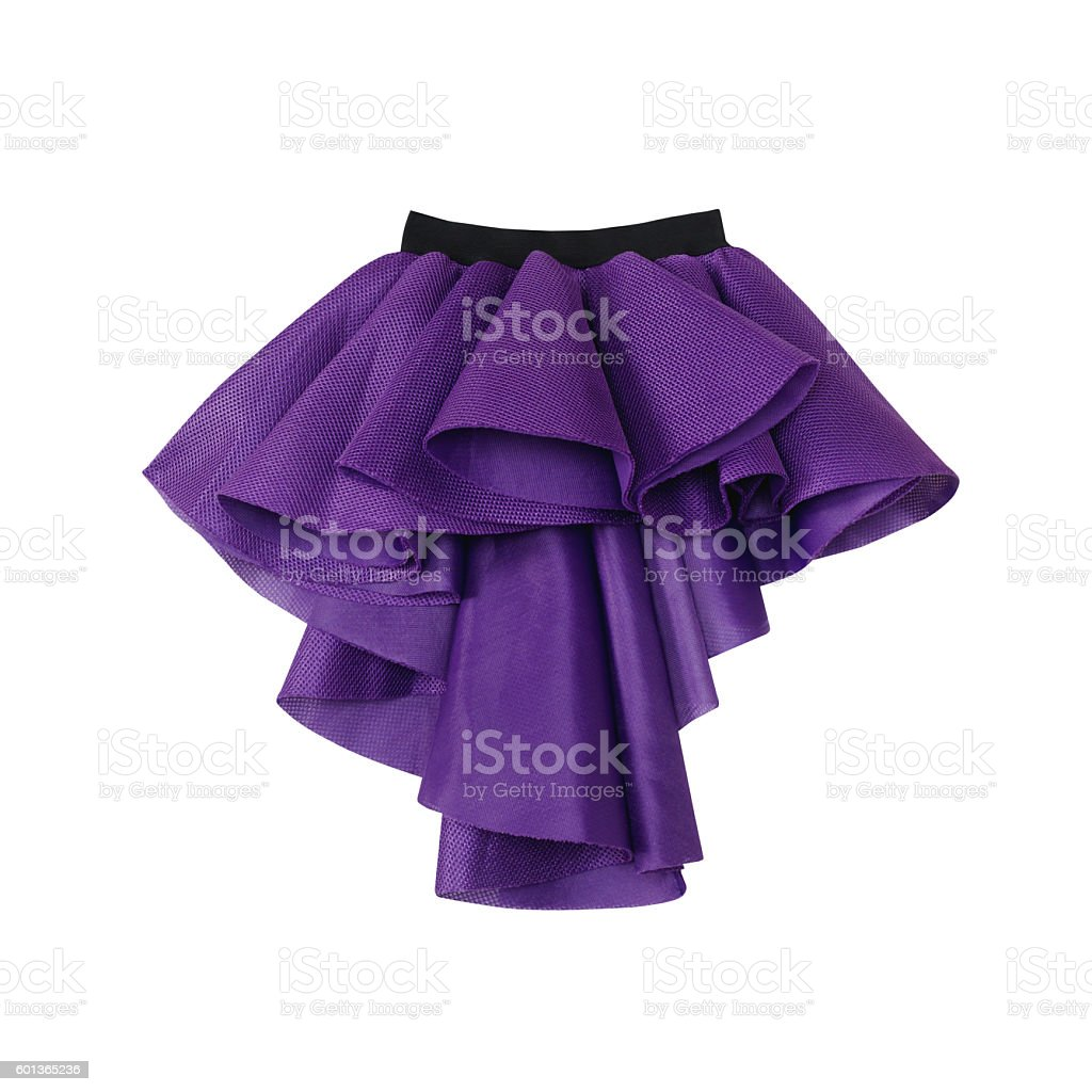 Purple short front long back skirt on white background stock photo