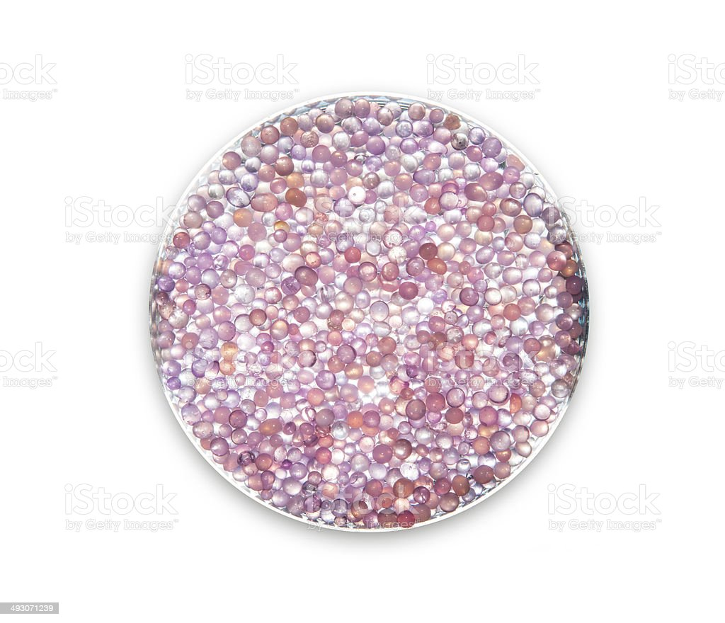 Purple silica gel on the plate stock photo