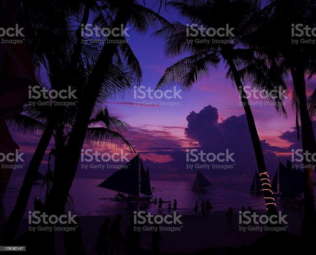 Purple sky, Boracay, Philippines royalty-free stock photo