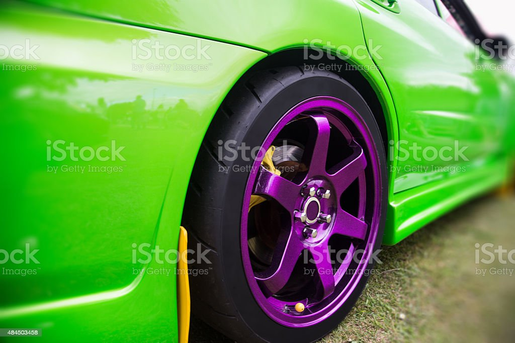 Purple Sport Alloy Wheel stock photo