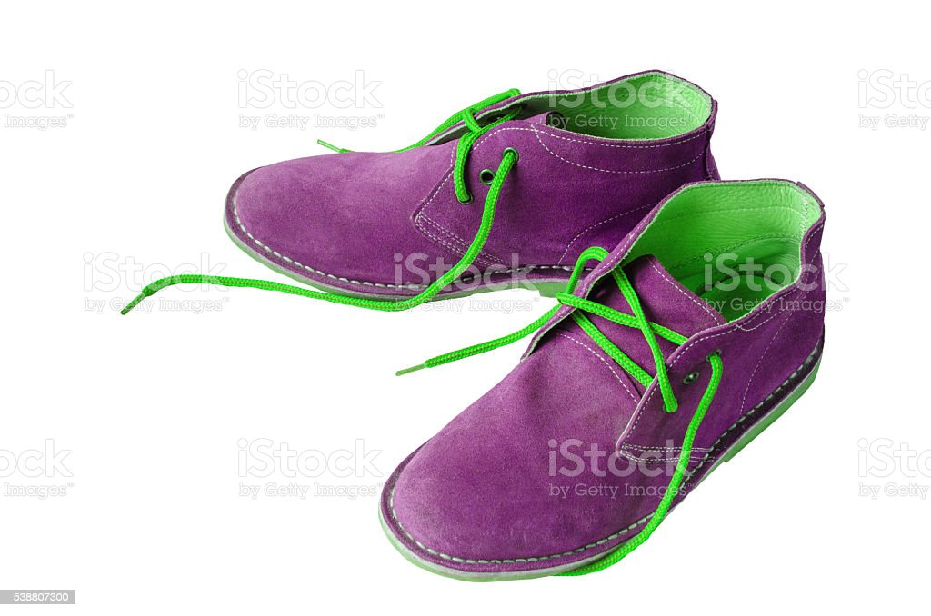 Purple suede shoes stock photo