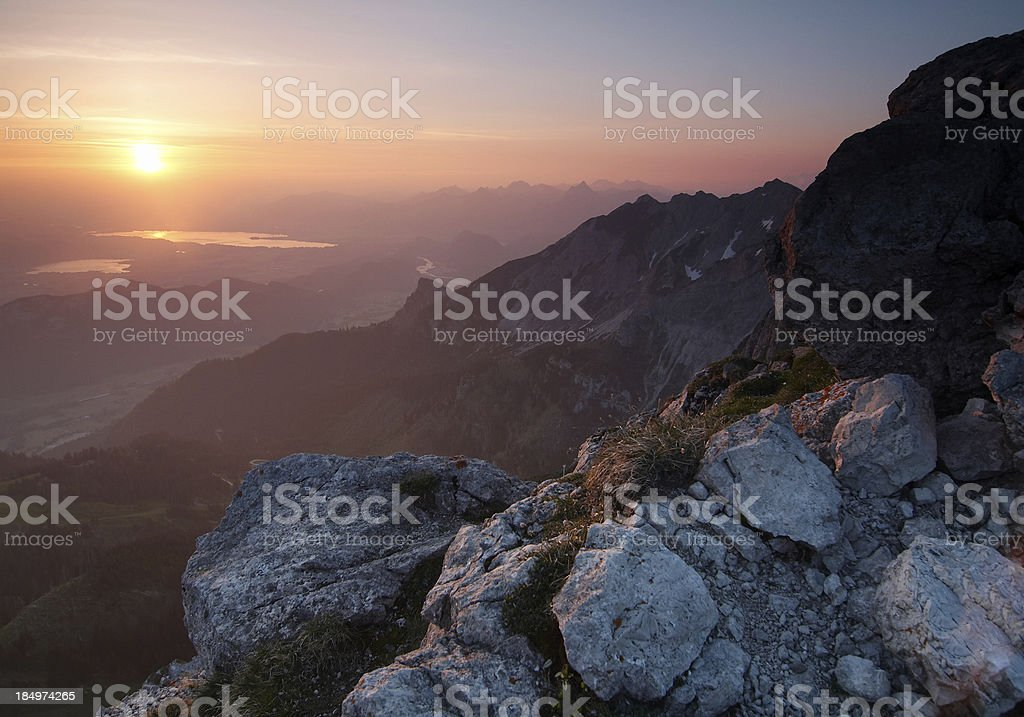 purple sunrise on mt. aggenstein royalty-free stock photo