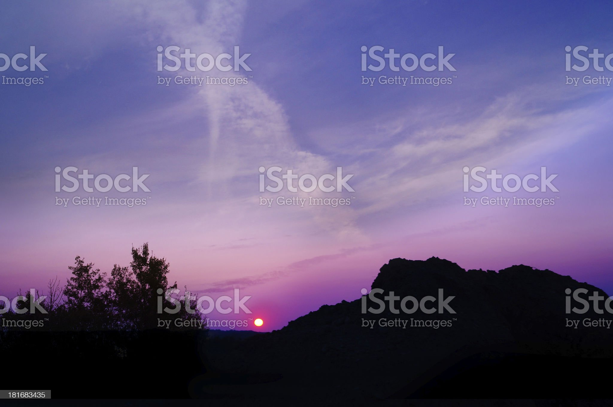 Purple sunset, Canadian forest background royalty-free stock photo