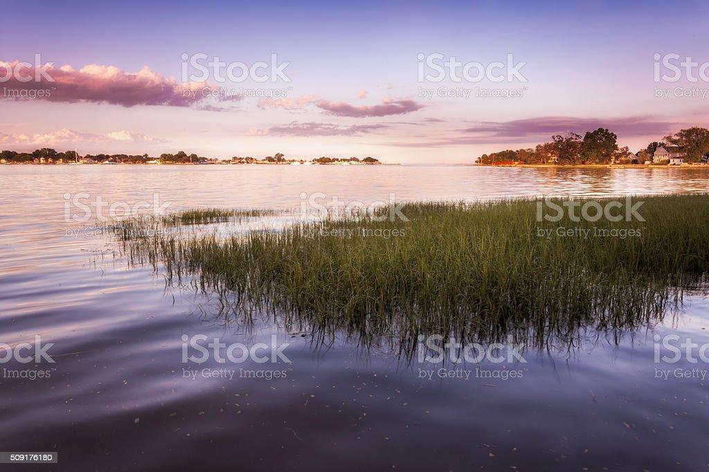 Purple Sunset Over Grassy Harbor stock photo