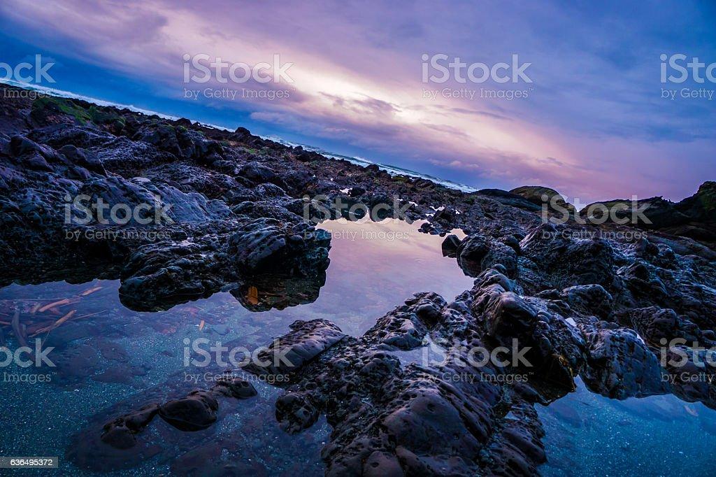Purple sunset over Shi Shi Beach stock photo