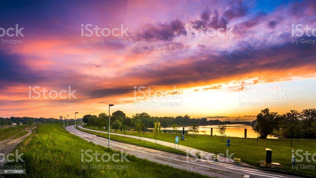 Purple sunset - Zagreb, Croatia stock photo