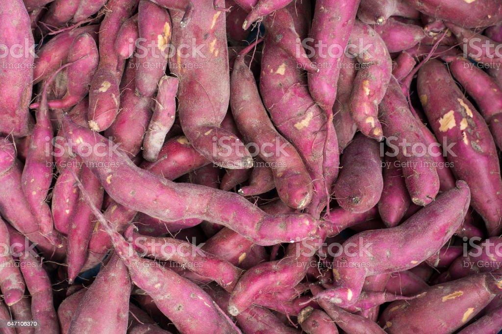 Purple sweet potato background stock photo