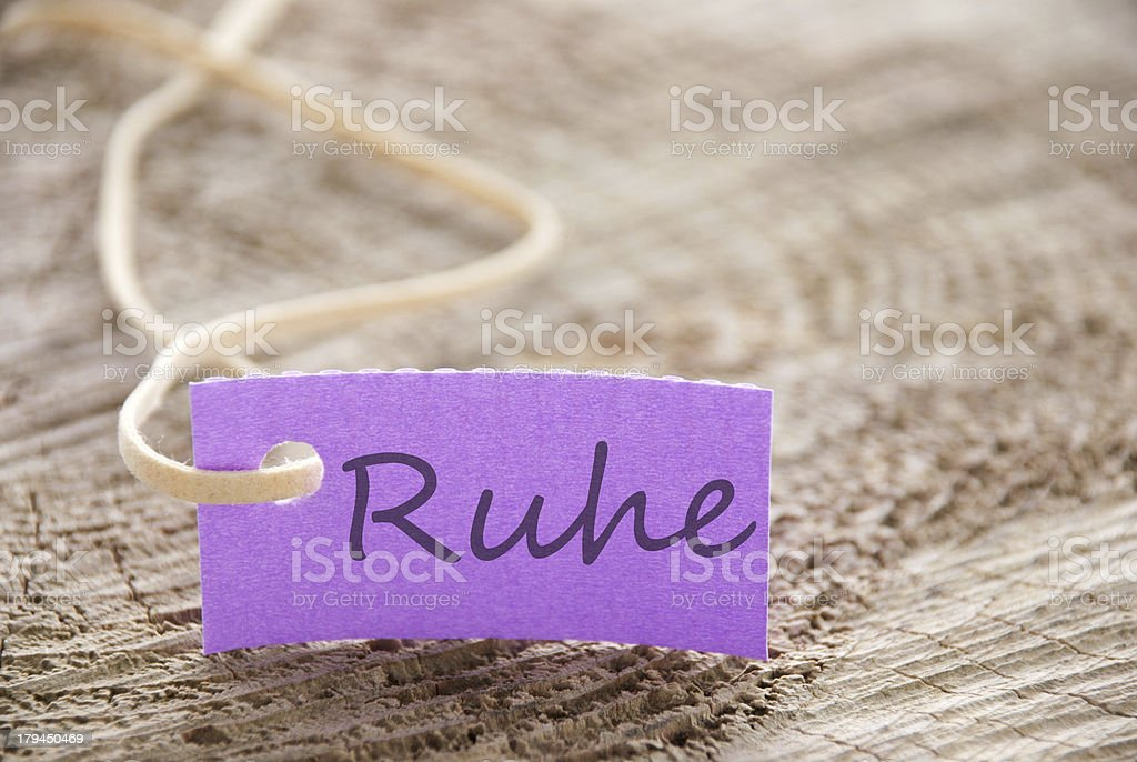 purple tag with Ruhe royalty-free stock photo