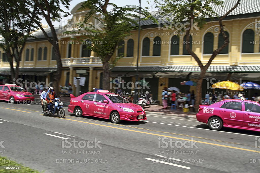 Purple Taxi in Bangkok royalty-free stock photo