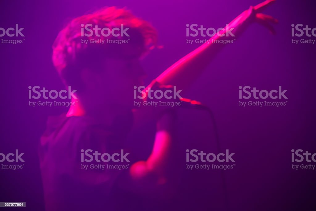 Purple teenage music singer stock photo