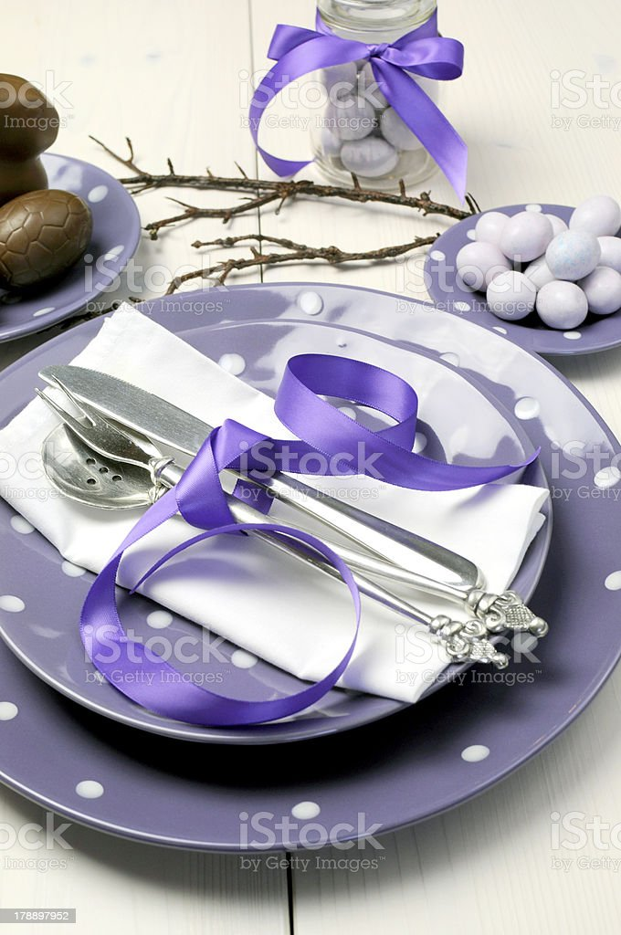 Purple theme Easter dinner, breakfast or brunch table setting royalty-free stock photo