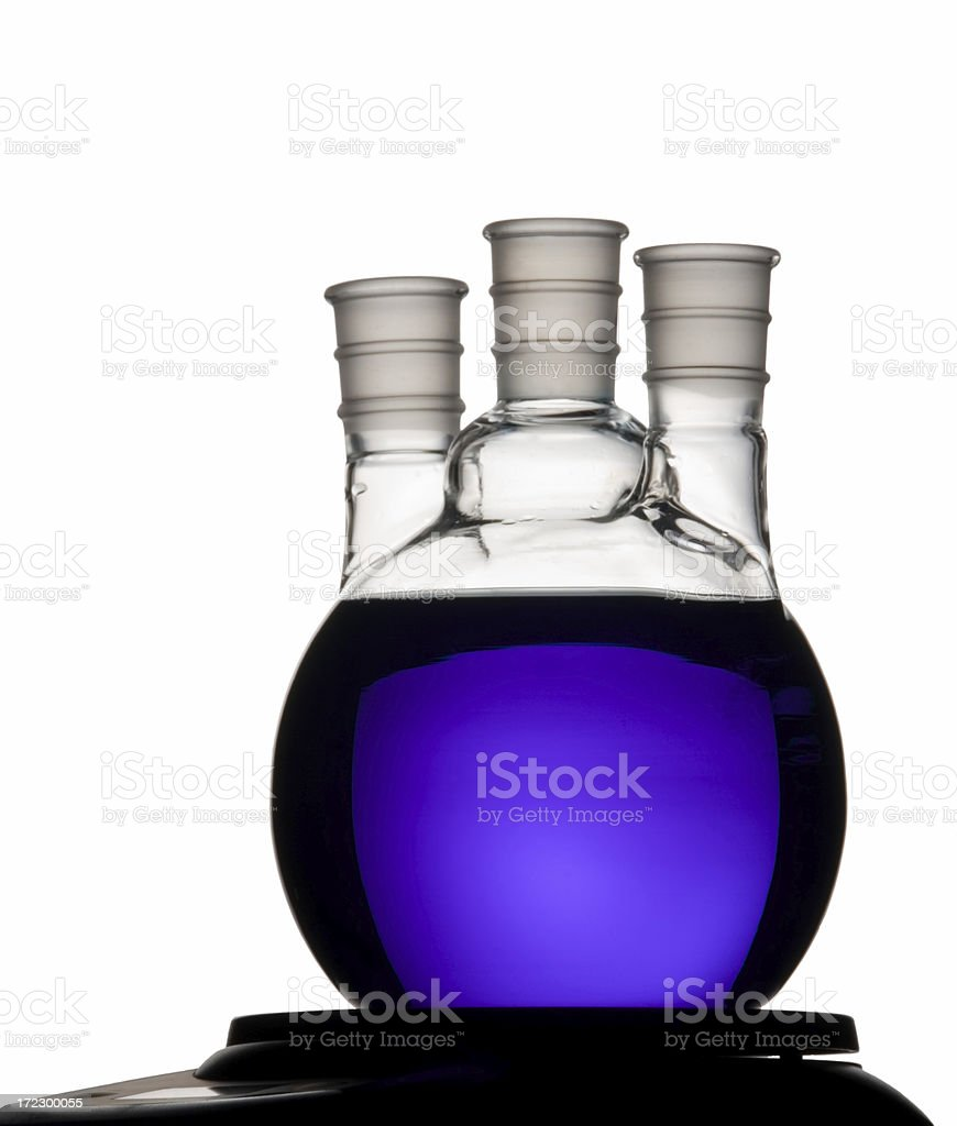 Purple Three Neck Flask .  Isolated on White stock photo