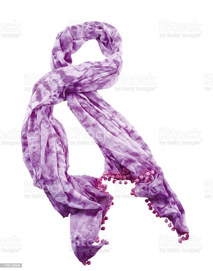 Purple tie dye neckerchief with pom poms stock photo