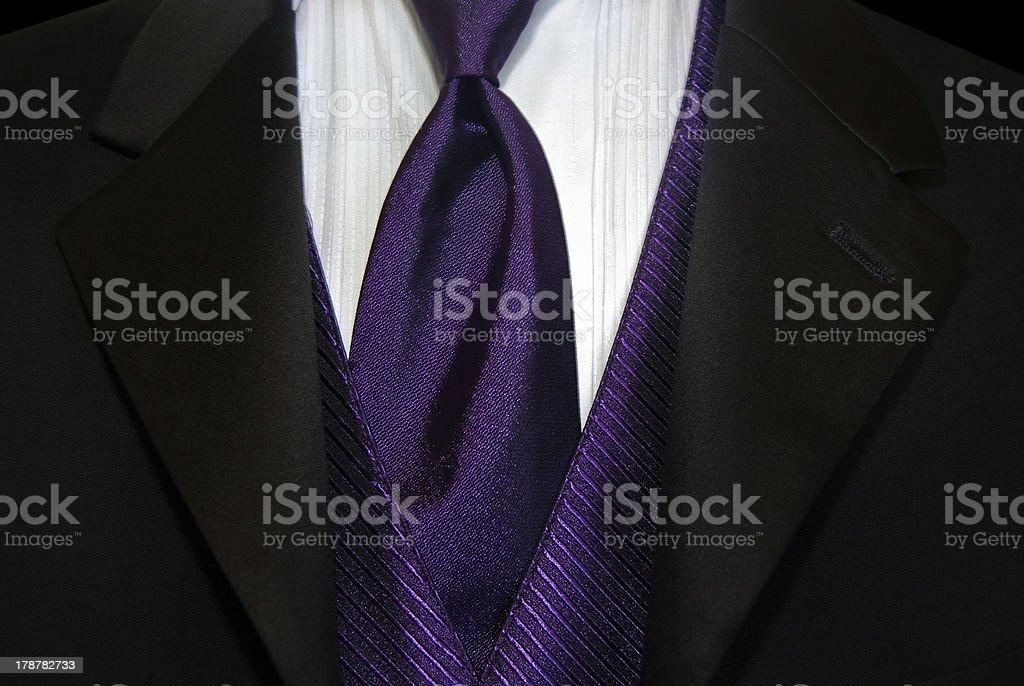 Purple tie with tuxedo royalty-free stock photo