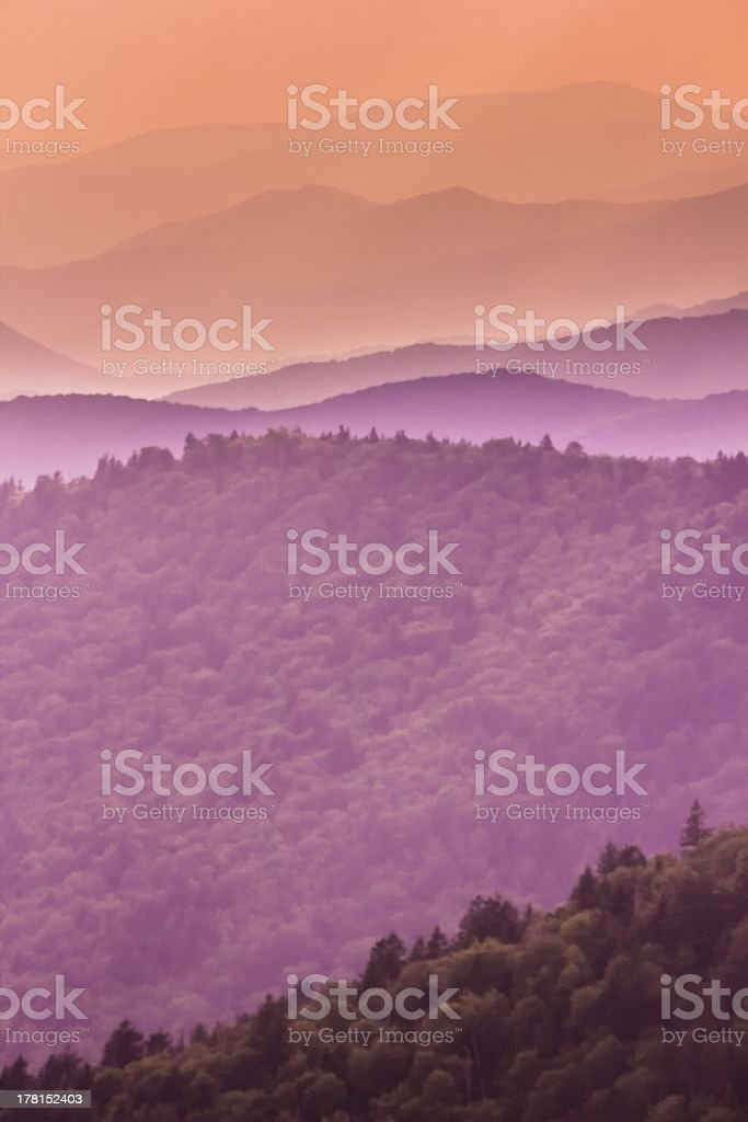 Purple Tones of the Great Smoky Mountains royalty-free stock photo