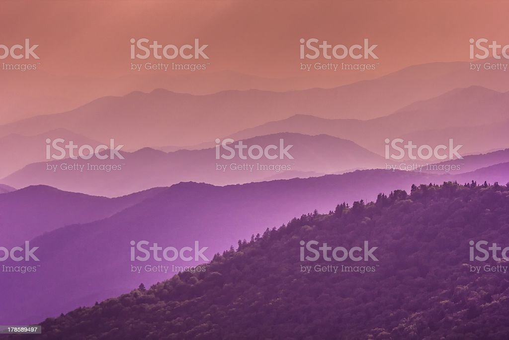 Purple Tones of the Great Smoky Mountains stock photo