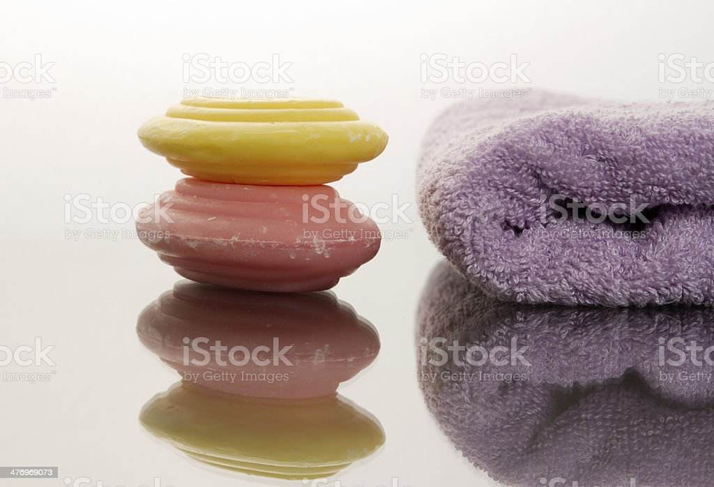 Purple Towel And Soaps For Relaxation stock photo