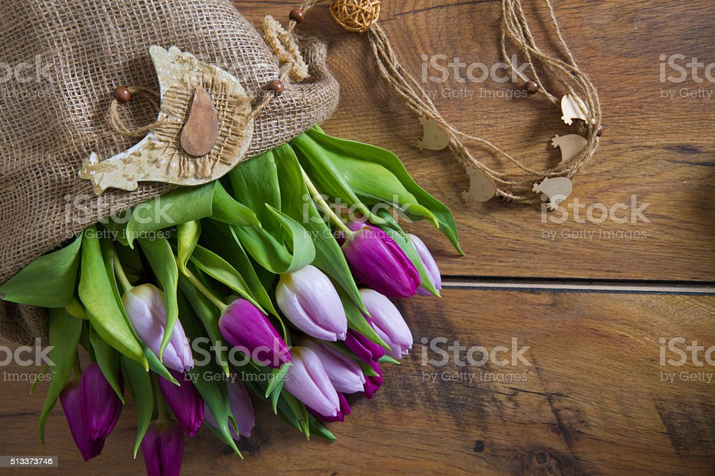 purple tulips with decoration stock photo