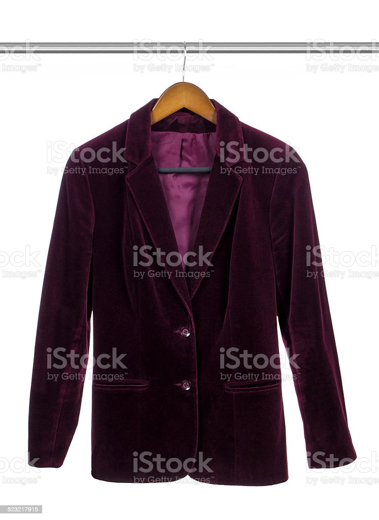 purple velvet business suit on a hanger isolated on white stock photo