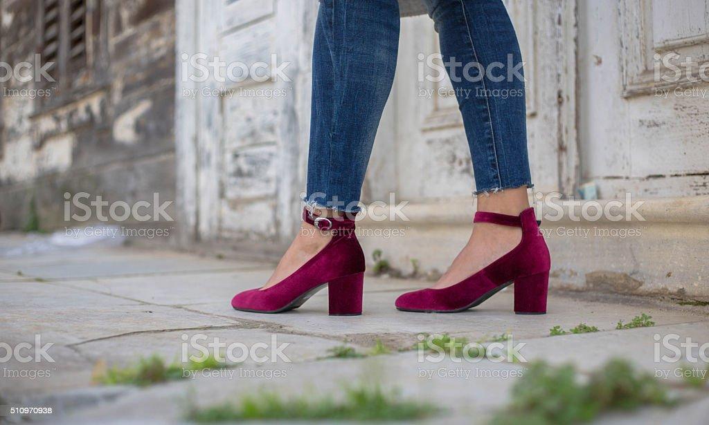 purple velvet shoes stock photo