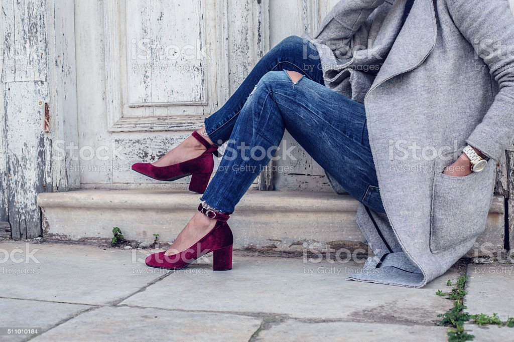 purple velvet woman shoes stock photo
