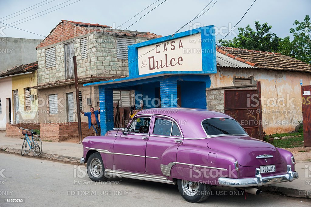 Purple vintage Chevy in Cuba stock photo