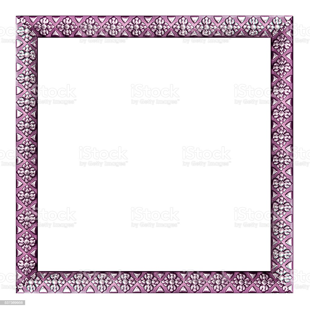 purple vintage picture and photo frame isolated on white backgro stock photo