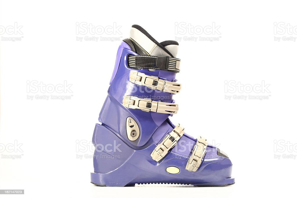 Purple white and black ski boot on white background stock photo