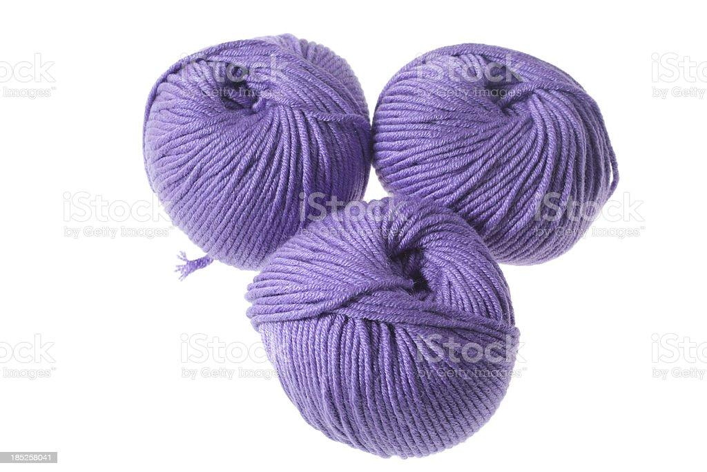 Purple yarn balls stock photo