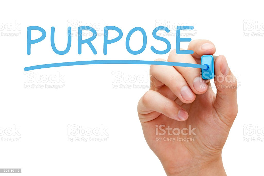 Purpose Blue Marker stock photo