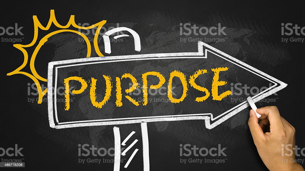 purpose concept on signpost stock photo