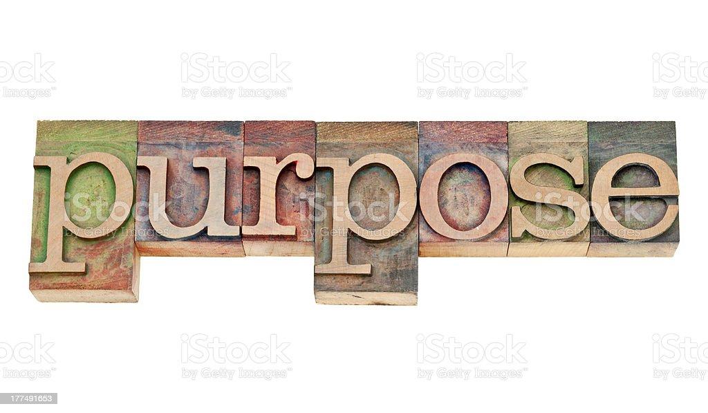 purpose word in letterpress wood type royalty-free stock photo