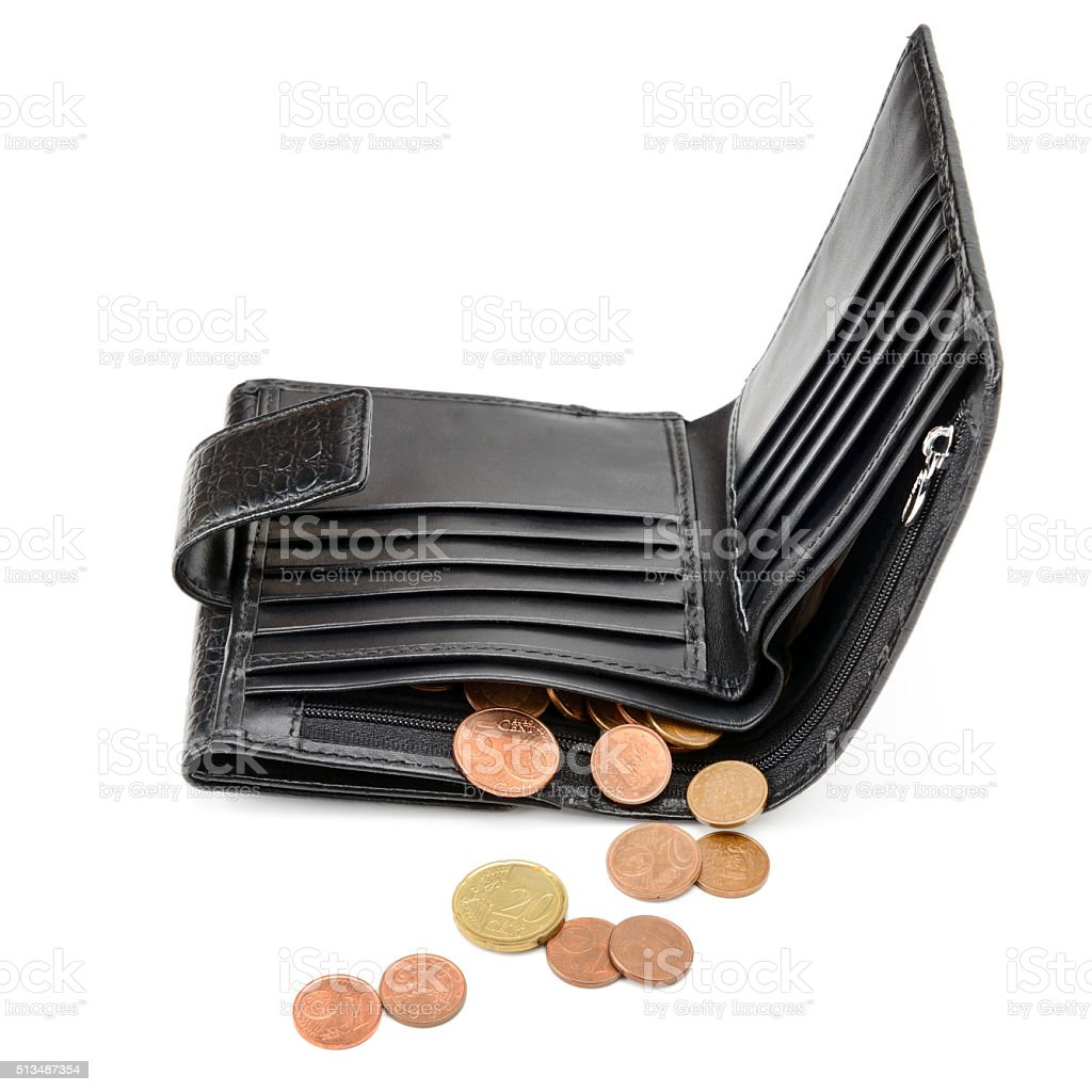 purse and euro cents stock photo