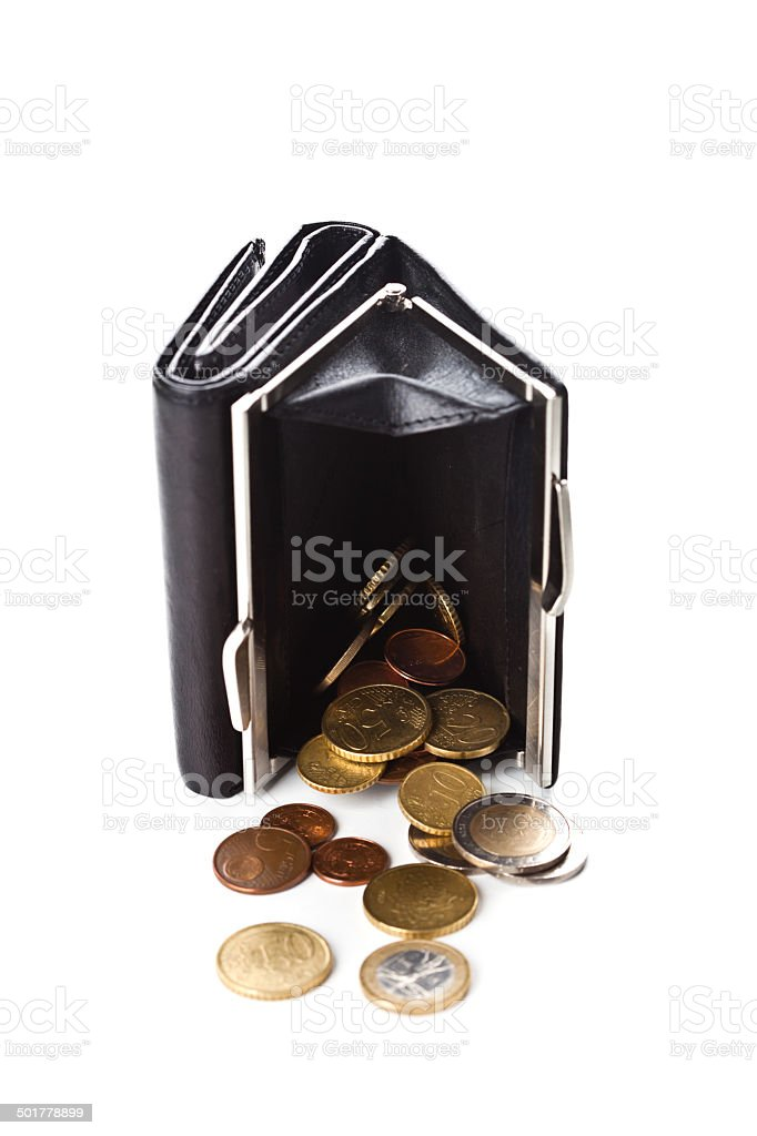 purse and euro coins royalty-free stock photo