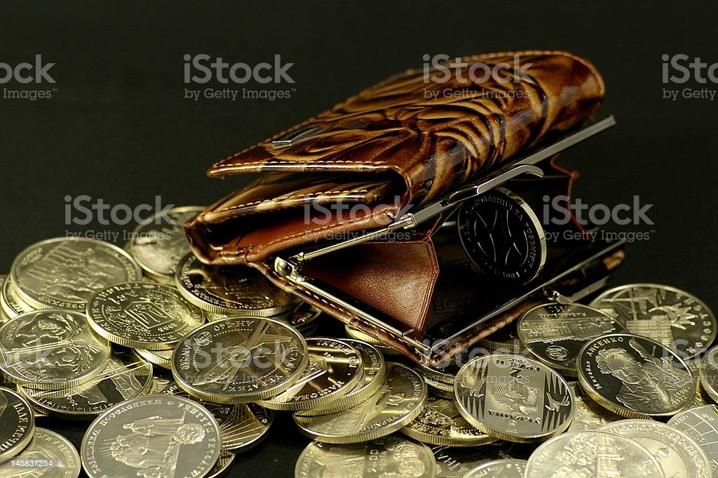 Purse and the coin royalty-free stock photo