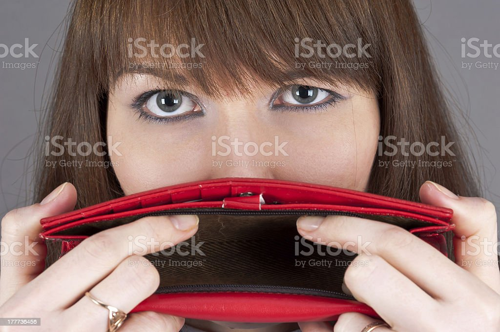 purse at the mouth royalty-free stock photo