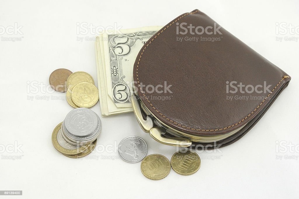 Purse, dollars, coins on a white background royalty-free stock photo