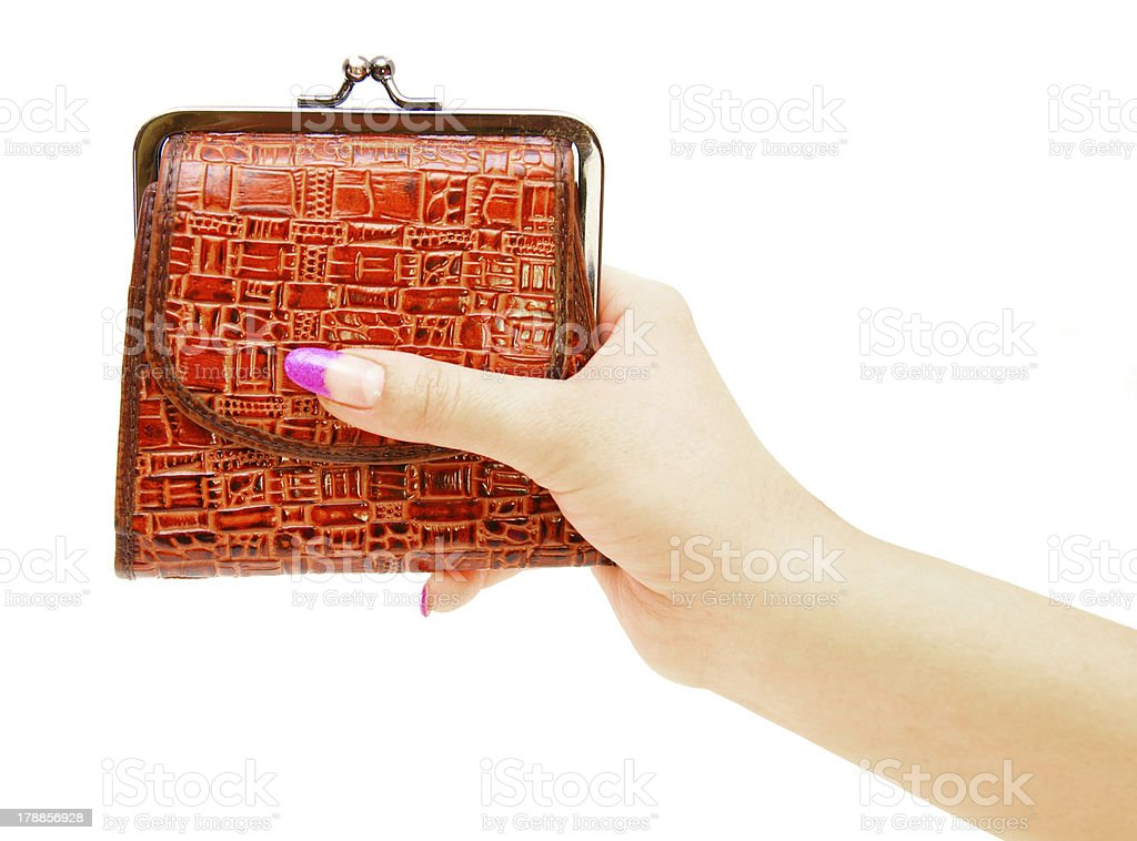 Purse in hands. On a white background. royalty-free stock photo