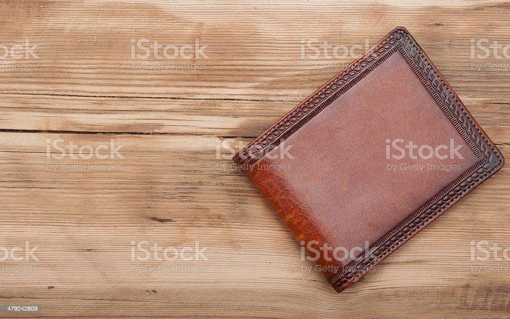 purse on wood background stock photo