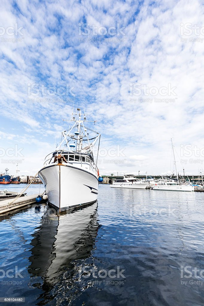 Purse Seine Boat at a Crowded Commercial Fishing Dock stock photo