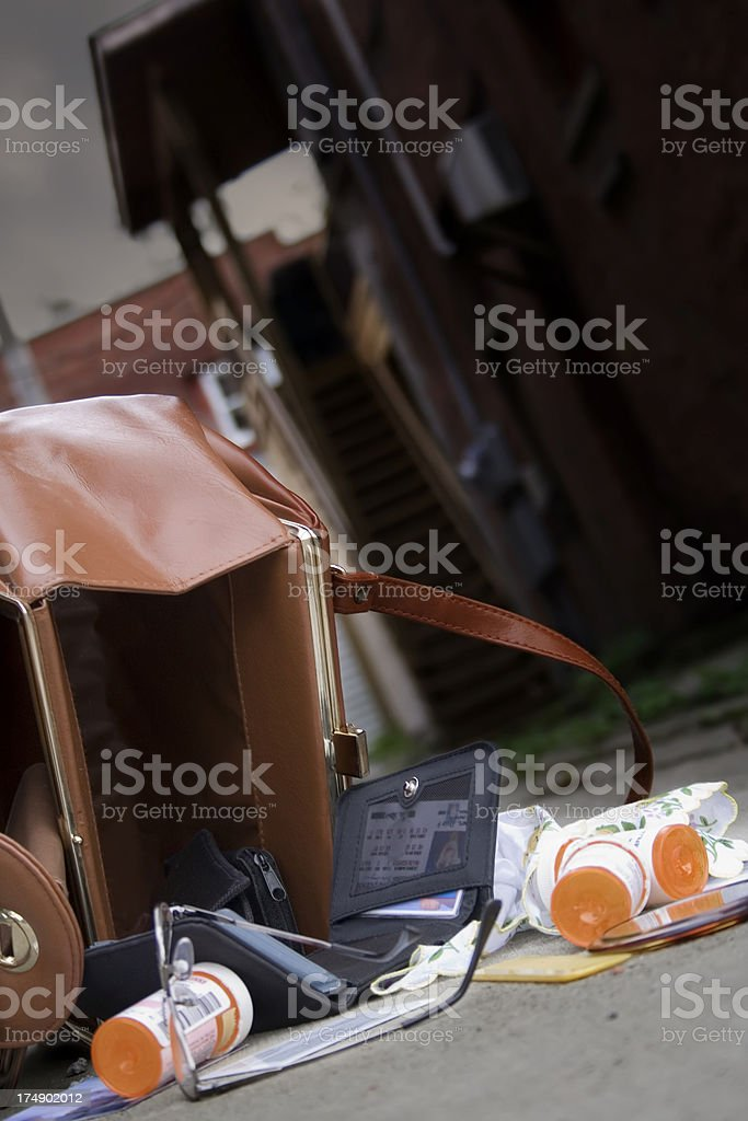 Purse Snatcher Theft or Medical Emergency stock photo