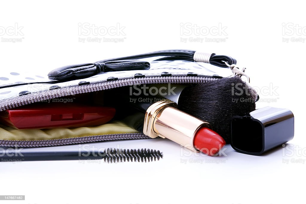 purse with different cosmetics stock photo