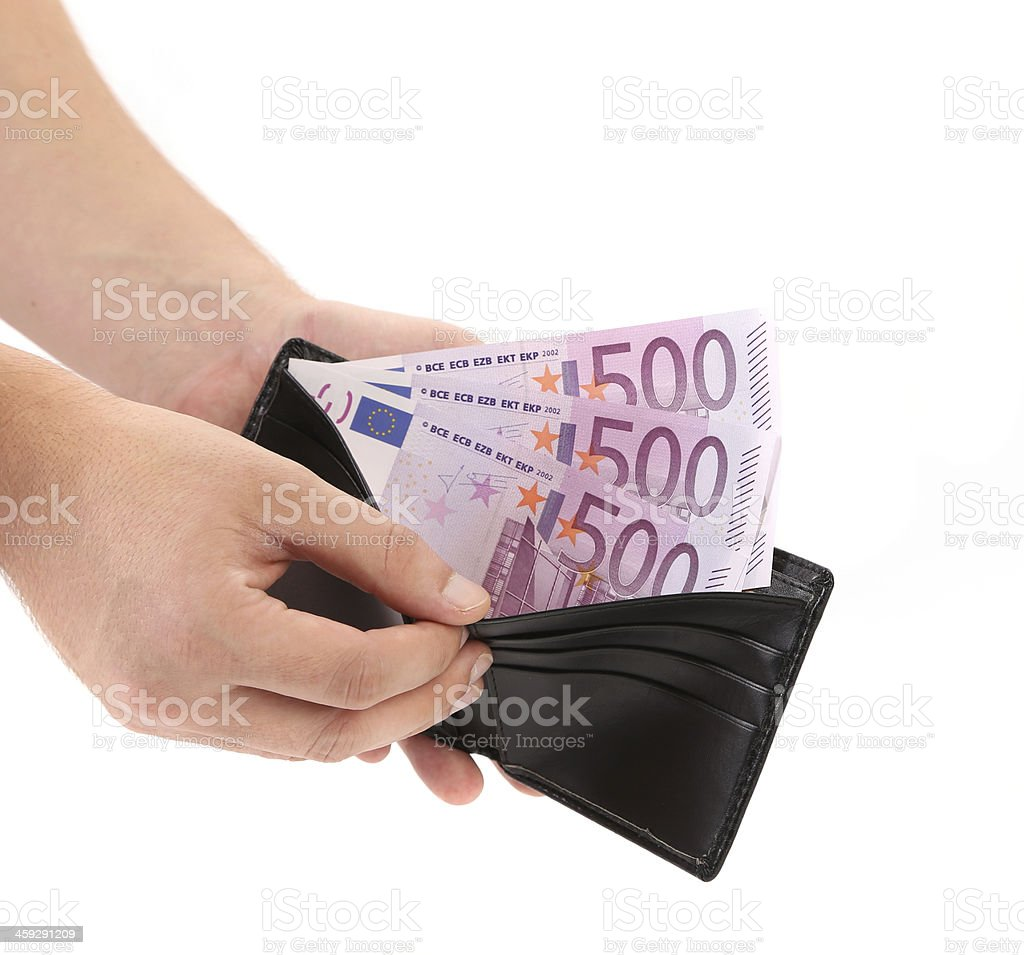 Purse with euro bills in hands. stock photo