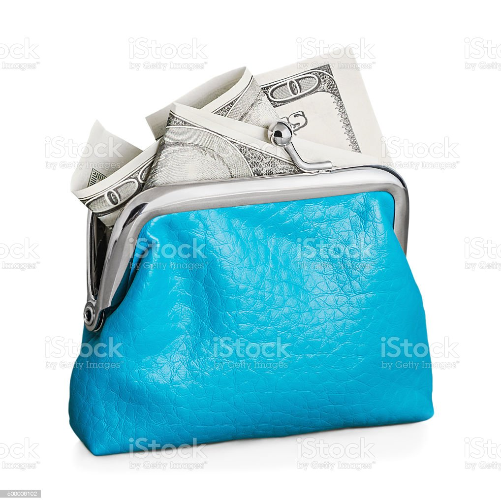 Purse with hundred dollar banknote isolated on white stock photo