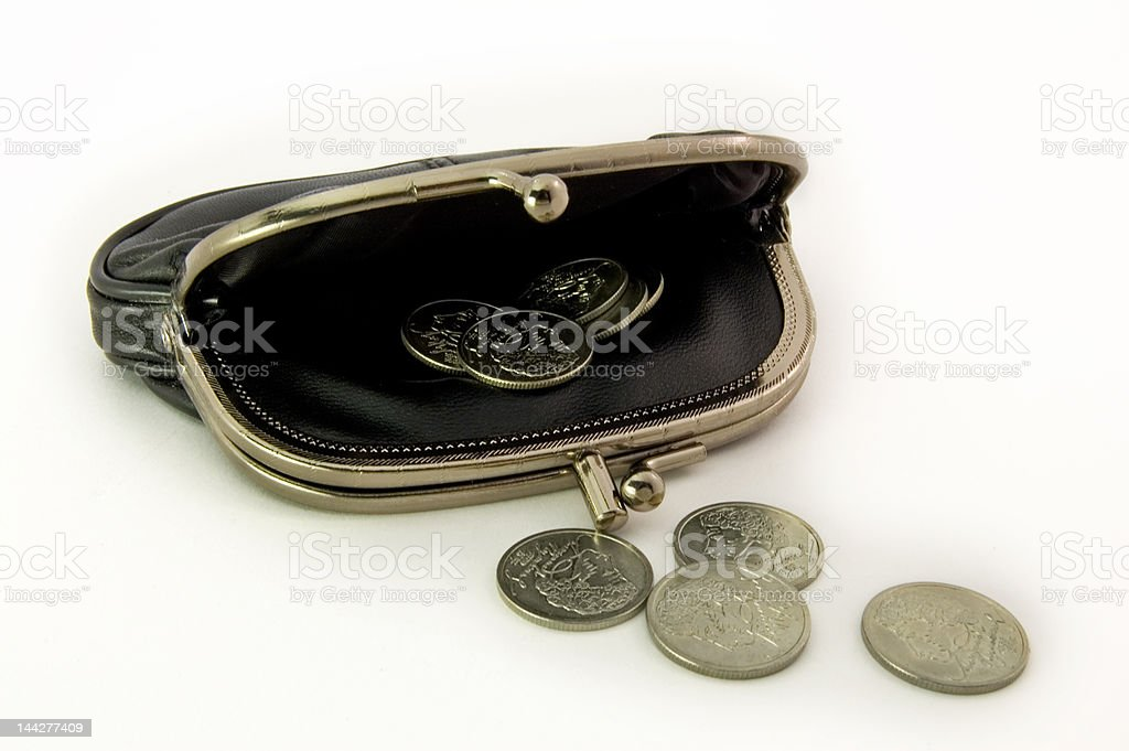 purse with jubilee coins royalty-free stock photo
